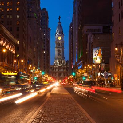 Philadelphia streets by night - Pennsylvania - USA