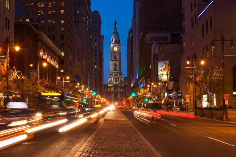 City Hall has been Philadelphia's government headquarters for more than 100 years, and it's the largest municipal building in the country. For a bird's-eye view of the city, visitors head to the observation deck, which sits just below the 37' bronze statue of William Penn that tops the building's clock tower.