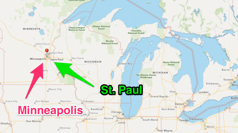 Map of Minneapolis and St. Paul