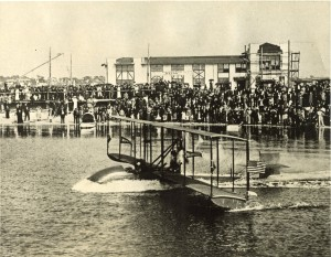 Tony Jannus taking off on January 1, 1914 - first commercial airline flight. Courtesy St. Petersburg Museum of History