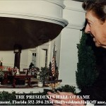 Ronald Reagan viewing the White House replica
