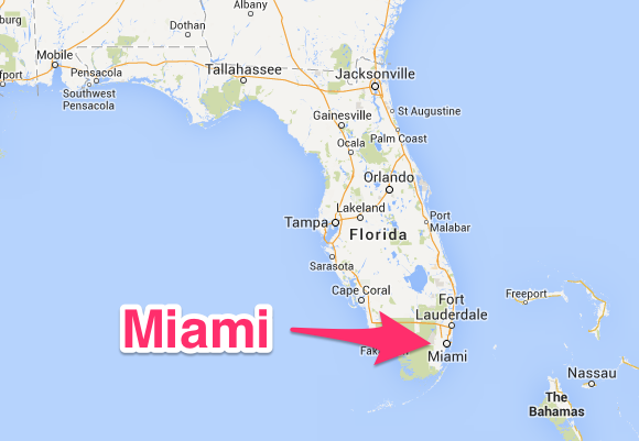 Miami is in Dade County, just south of Fort Lauderdale.