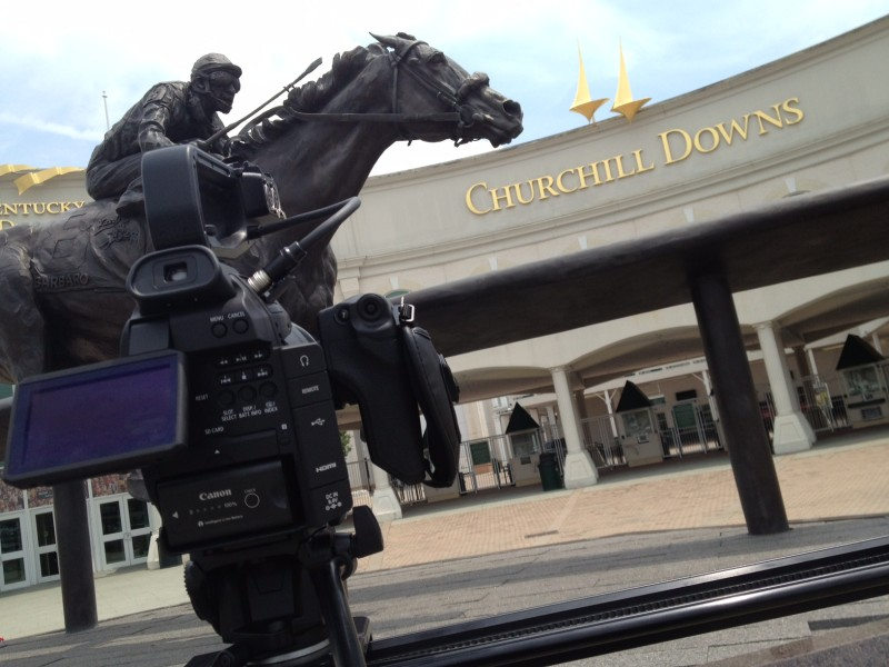 A behind-the-scenes shot of me filming the Kentucky Derby Museum. I love that camera!