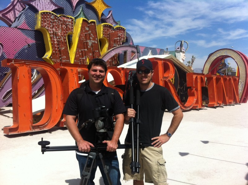 The Travel Thru History Producers filming at the Neon Museum in 2012.