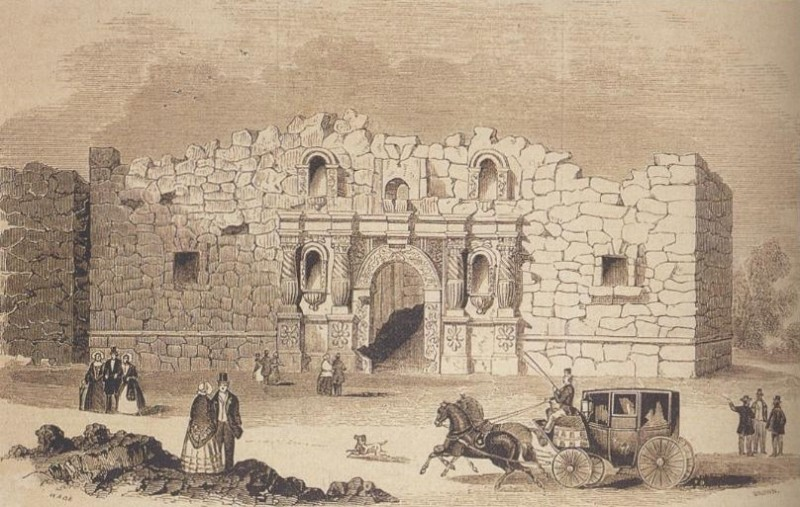 Drawing of the Alamo Mission first printed in 1854