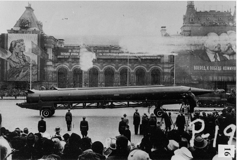 CIA reference photograph of Soviet medium-range ballistic missile (SS-4 in U.S. documents, R-12 in Soviet documents) in Red Square, Moscow.