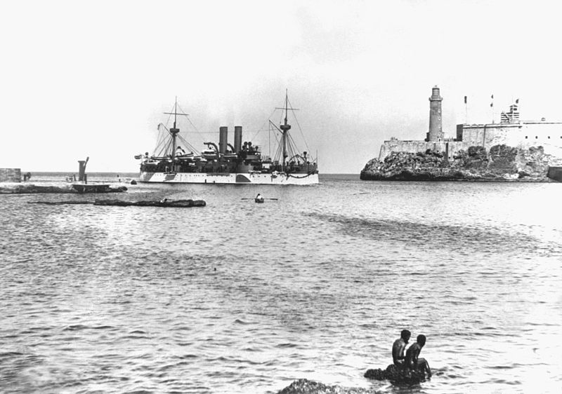 The Maine entering Havana harbor. January 1898.