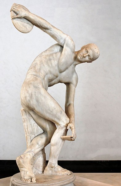 "The ""Discobolus"" is a copy of a Greek statue c. 5th century BC. It represents an ancient Olympic discus thrower"