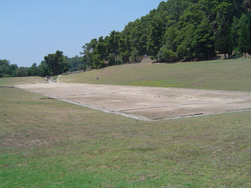 The remains of ancient Olympia stadium in Greece