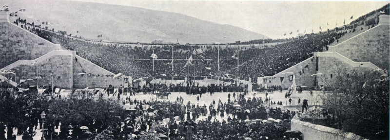 The Panathenaic Stadium in Athens during the first day of the 1896 Olympic