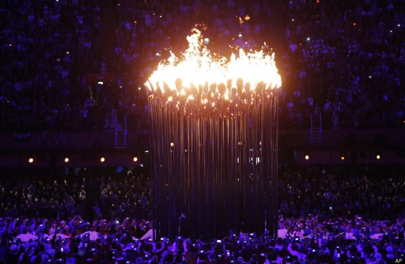 The Olympic cauldron in the London 2012 Olympic Games