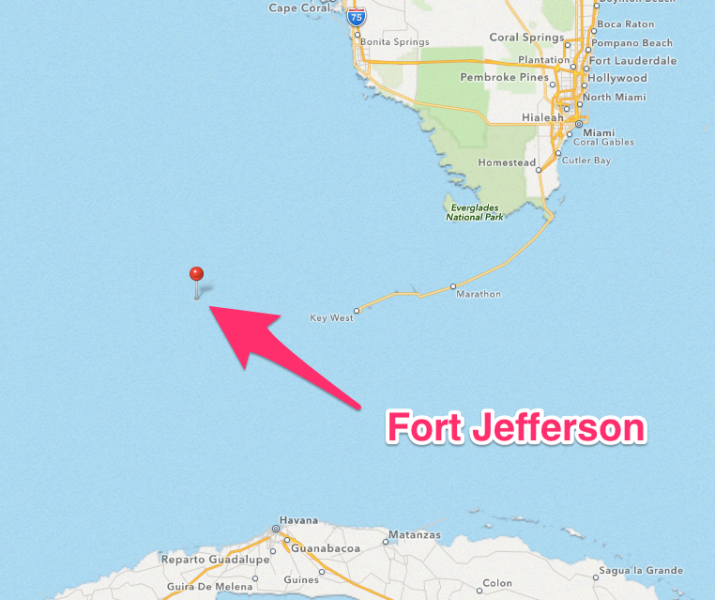 The Dry Tortugas is the most remote US Fort.