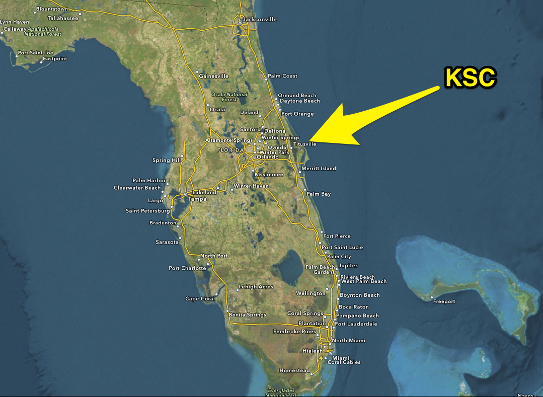 kennedy space center on florida map