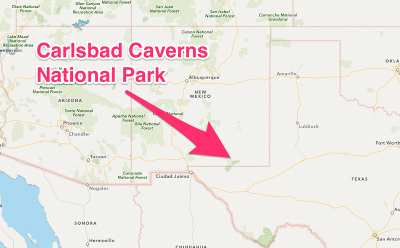 Map to Carlsbad Caverns, New Mexico