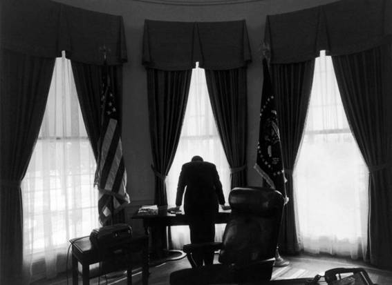 This photo of President Kennedy taking a moment of reflection during the Cuban Missile crisis is normally explained as him bearing the enormous responsibility of nuclear war, but some has postulated that his back just really hurt.