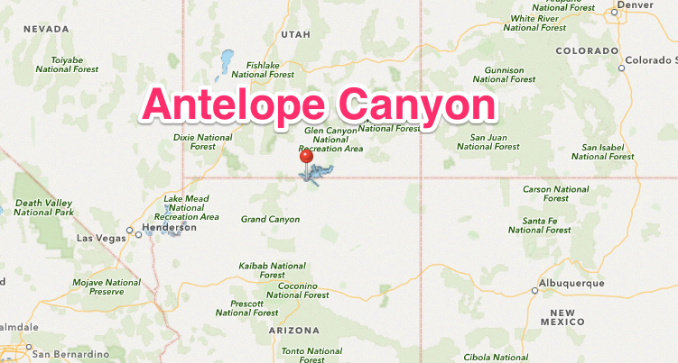 Travel Thru History Tour Antelope Canyon Arizona An Ancient - Grand canyon location on us map