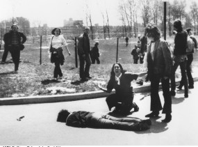 Pulitzer Prize winning photograph taken of the Kent State Massacre.