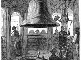 Centennial_Bell_in_the_Independence_Hall_Belfry,_Philadelphia_-_Engraving_from_1876
