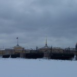 Frozen bridge over the Neva