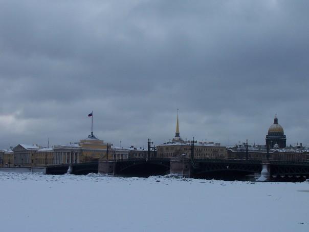 Frozen bridge over the Neva