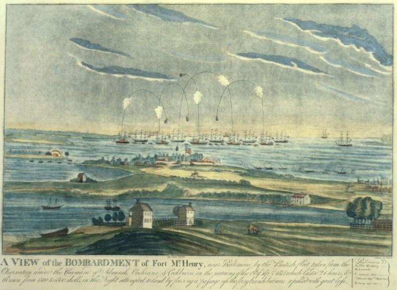 Battle of Baltimore, Fort McHenry bombardment.