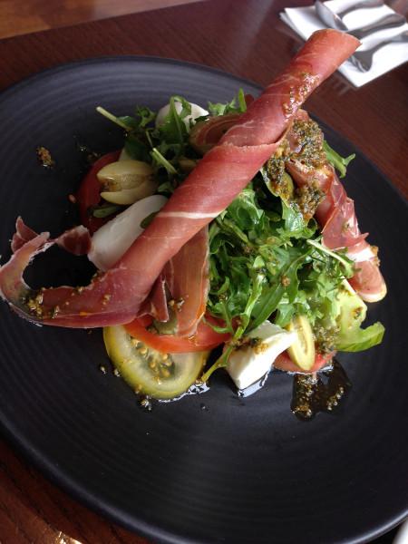 Canal Bank Cafe's Prosciutto, tomato, arugula salad.