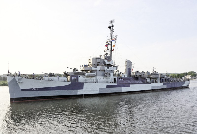 "The USS Slater docked in Albany in ""Dazzle Camouflage"""