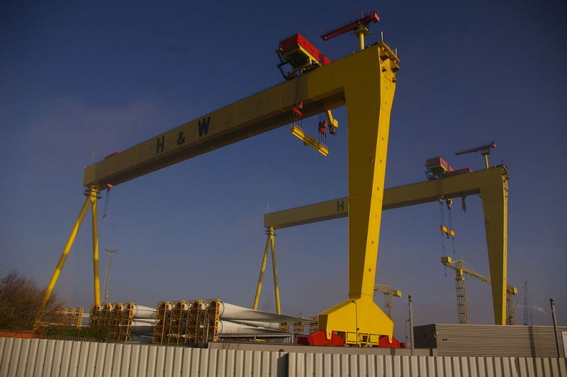 The type cranes that built the Titanic by Harland and Wolff. Photo via wikipedia.