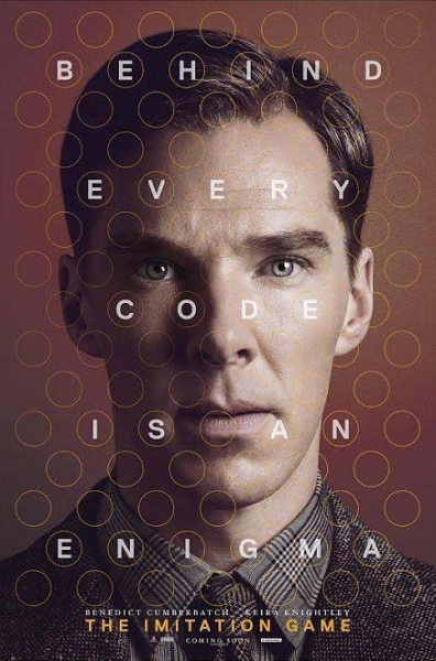 "Movie Poster for the movie ""Imitation Game"" starring Benedict Cumberbatch as Alan Turing."