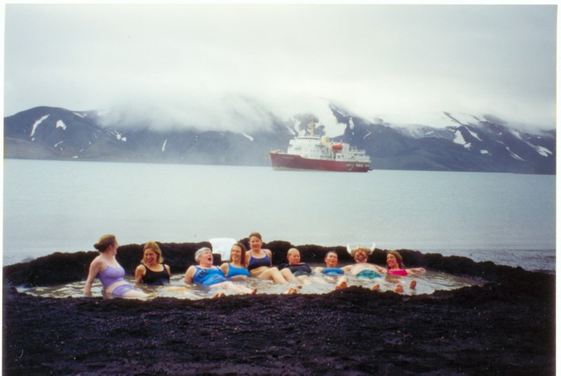 Deception Island Tourists in a hot spring at Port Foster.  Photo via wikipedia.