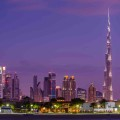 Dubai, UAE Skyline with the world's tallest building, the Burj Khalifa.