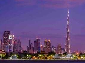 Dubai, UAE Skyline with the world's tallest building, the Burj Khalifa.