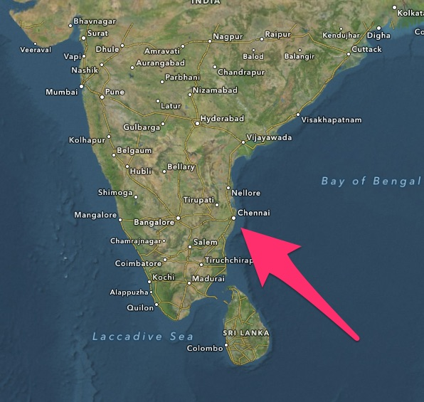 Chennai, India Map