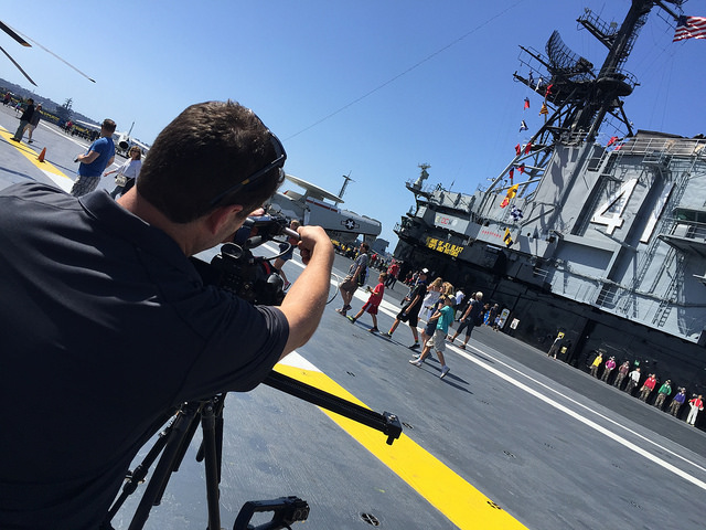 TTH Director John on the Midway flight deck. Photo by Joe Dorsey.