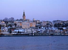 Belgrade city center over the river Sava.