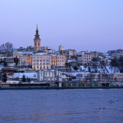 Belgrade city center over the river Sava.