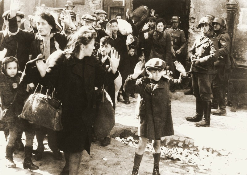 A picture of the Warsaw ghetto in World War 2.