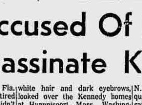 Newspaper Headline for the attempted assassination of President-elect Kennedy in Palm Beach, FL in 1960.