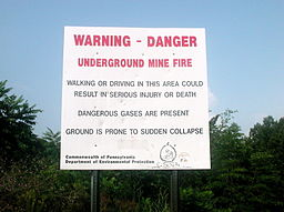 Warning sign from Pennsylvania's Department of Environmental Protection outside Centralia.
