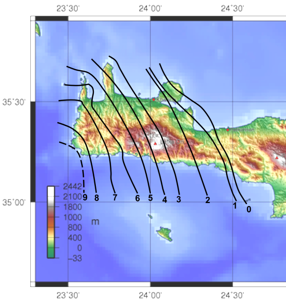 365 Crete earthquake uplift map.