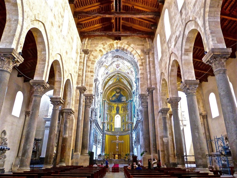 Cefalu's cathedral shows Byzantine influence.