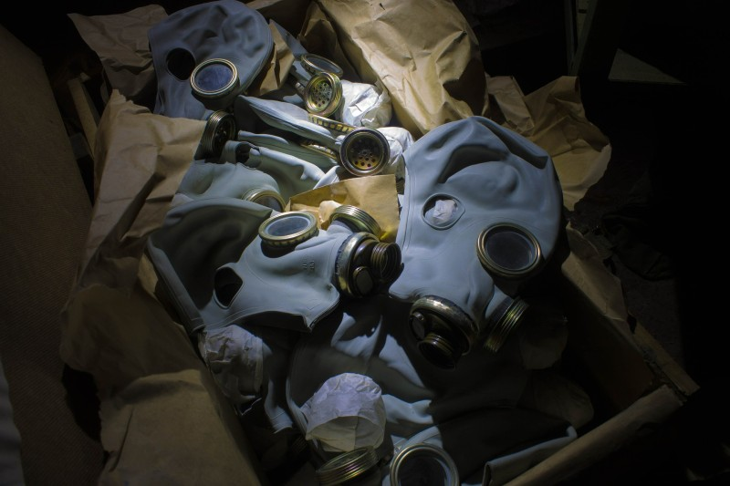 A box of gas masks