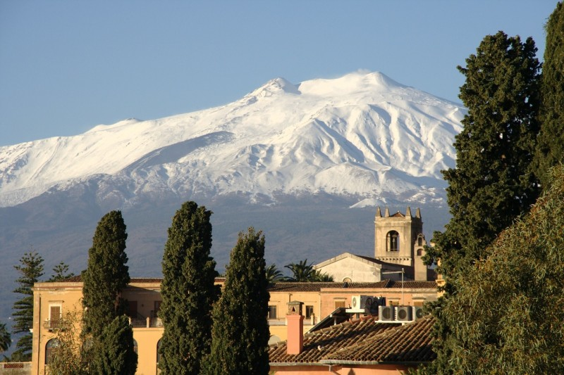 Snow hides Mt. Etna's explosive nature.