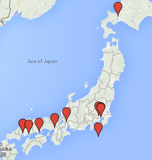 Bizarre sites in Japan, on the map.