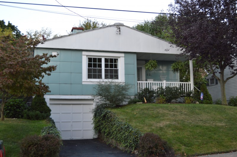 Blue Lustron house in California, PA.
