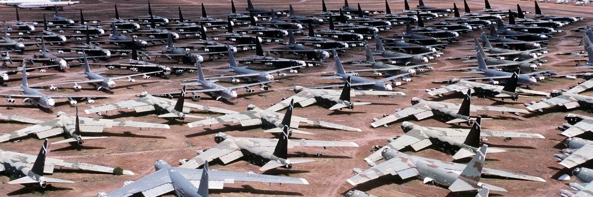 Stored B-52 bombers like the ones used in Operation Chrome Dome.