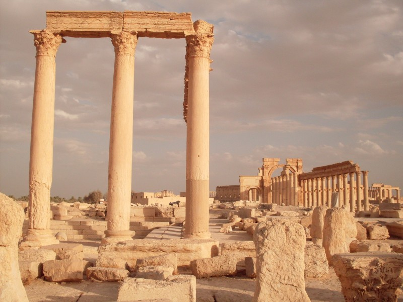 Beautiful stone columns in Palmyra.