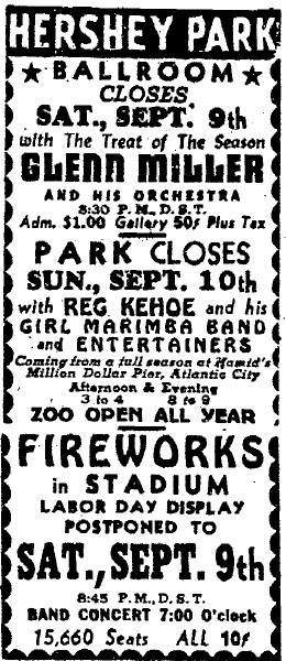 Hershey Park ad from 1939