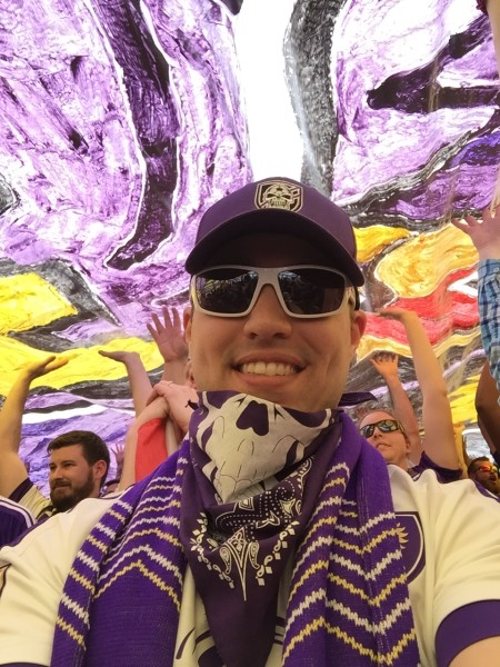 Under the TIFO at OCSC. A TIFO is the very large artwork unveiled by the supporters group before each match.