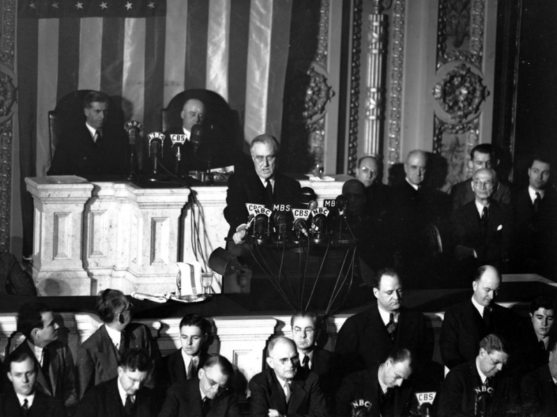 President Franklin D. Roosevelt convincing Congress to declare war against Japan. (Dec. 8 1941) Photo via Ken Rudin WBUR